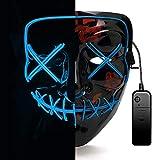 AUGOLA Halloween LED Maschera, The Purge Mask LED Maschera Viso 3 modalità di Luci per Festival Cosplay Costume Supplies Festa Maschere Si Illuminano al Buio (Blu)