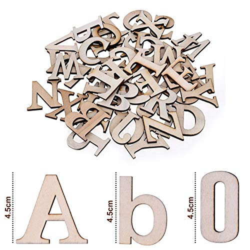 Wooden Letters & Wooden Numbers (124 Pcs) – Set of (A-Z) Capital Letters and Lowercase Letters (52 Each) with 20 Wooden Numbers (0-9) – Art Craft DIY Wedding Party Wooden House Display Decorations