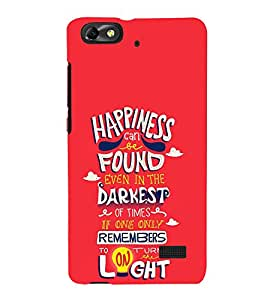 Happiness Darkest Light 3D Hard Polycarbonate Designer Back Case Cover for Huawei Honor 4C :: Huawei G Play Mini