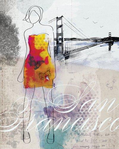 Wheatpaste Art colectiva Ciudad niña San Francisco por Natalie Alexander Lienzo, 24por 76,2cm