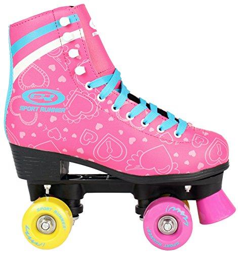 Kinder ROLLSCHUHE 34 35 36 37 38 NEU Discoroller rosa Rollerskates Inliner ABEC-5 (36)