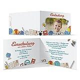 10 x Einschulung Einladungskarten Einschulungskarten Schulanfang Set - Karierte Notizen