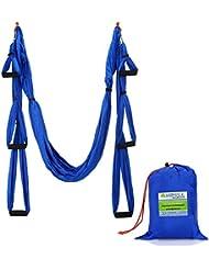 Yahill® Deluxe 2.5 Yards Déformation élastique Inversion Therapy Anti-Gravity Yoga Swing Aerial, hamac de yoga, courroie de yoga de vol, Sling de yoga, capable de 2000 LB (Blue)