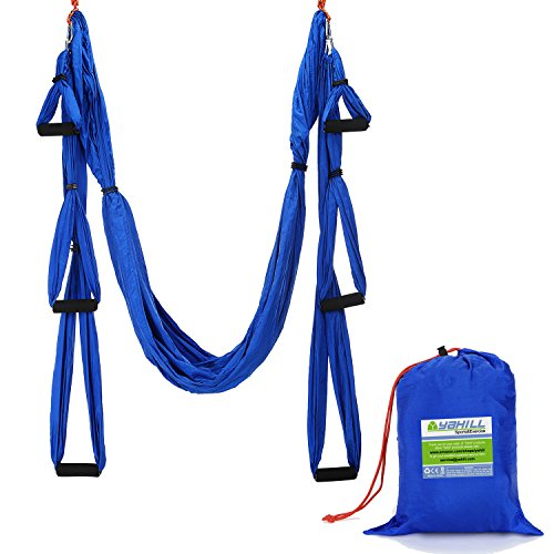 yahill® Deluxe 2,3m elastico decompressione Panca a Inversione Anti-Gravità Yoga Swing Antenna, Yoga Amaca, Volare Cinghia per yoga, Yoga, Trapezio, per Yoga, in grado di 2000kg, Blue