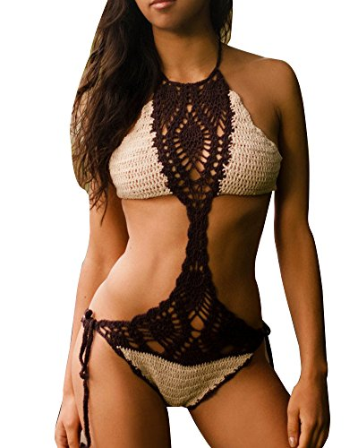 Donna Costumi Interi Monokini Beachwear Swimwear Costumi Da Bagno Push-Up Bikinis Uncinetto Mare E Piscina