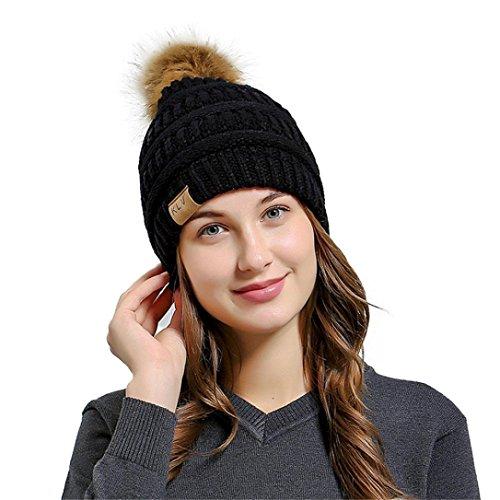 Weihnachtsgeschenk Winter Strickmütze SHOBDW Männer Frauen Baggy Warm Crochet Winter Wolle Stricken Ski Beanie Schädel Slouchy Caps Hut (B-Schwarz) (Schädel Frauen Kleidung)