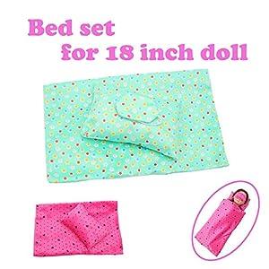 mxjeeio Bettwäscheset Schlafsack Quilt + Kissen + Augenmaske für 18 Zoll American Girl Puppenzubehör Mädchens Spielzeug