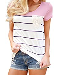 Beauty GO - Camiseta - Rayas - Cuello redondo - para mujer