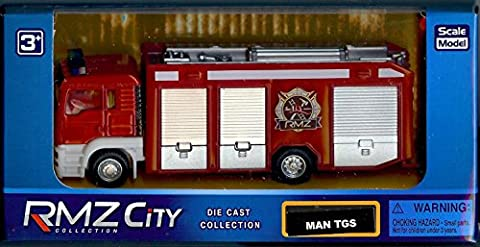 RMZ City Collection - Red MAN TGS Fire Engine Truck - 1:64 Scale Die Cast Model - Collectible Toys
