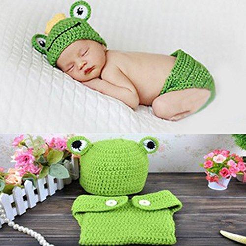 Imagen de aivtalk  ropa de fotos para bebés recién nacidos disfraces trajes apoyo de fotografía conjunto de 2 pcs sombrero pantalones cortos de punto de ganchillo  rana  verde alternativa
