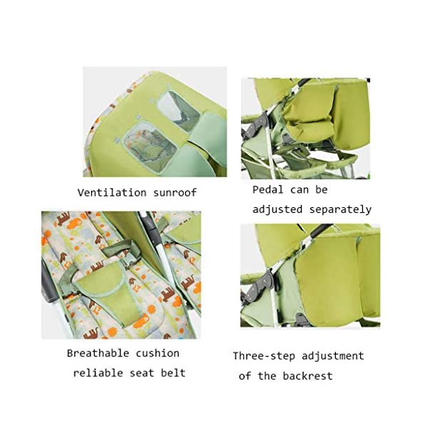 Baby Twin Stroller Buggy Pushchair- Double Stroller,Side by Side Double Pushchair, from Birth  With elliptical frame tubes in contemporary angles. Fully reclinable backrest using one hand easy adjust. Features elegant stay clean wheels with repeat logo details to match name seat graphic. 5