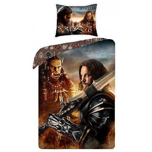 Warcraft Parure biancheria da letto reversibile 100% cotone Copripiumino 140x 200+ federa 70x 90Idea Déco Edition limitata