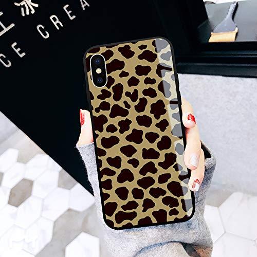 GUYISJK Mobile Phone Case Apple XS Max Xr Leopard Luxus 8 Weibliche XS Glas X Tide Marke Plus 8 Männlich 7 P Creative 6 Splus Persönlichkeit 6 S Net Rot Abschnitt 7 Schutzhülle, Ip-XS - Volle Leo