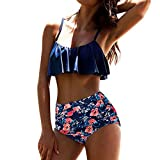 LHWY Bikini Damen Push up Frauen High Waist Badehose Gestreift Pants Fashion Sling Oberteile Sommer Sport Bikini Set Push-up Gepolsterter BH Badeanzug Bademode (M, Navy)