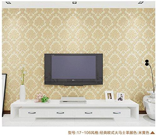 ZZYY*Kurz gesagt: Die OSZE Damaskus Tapete Vlies Schlafzimmer Tapete Wohnzimmer Wand Papier, Hintergrund hellgrün Beige