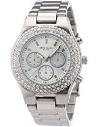 Mike Ellis New York L2970ASM - Reloj analógico de cuarzo para mujer, correa de acero inoxidable color plateado