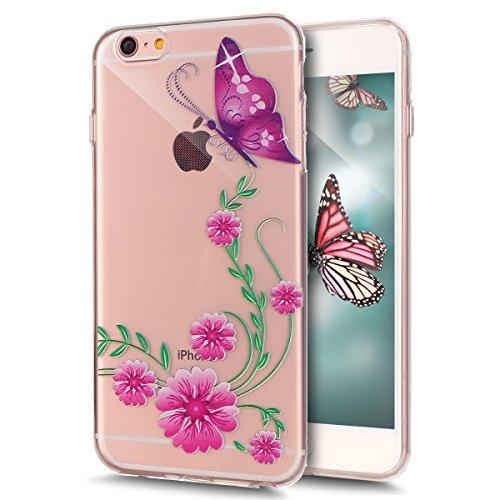 iPhone 6S Plus Hülle,iPhone 6 Plus Hülle,iPhone 6S Plus / 6 Plus Schutzhülle Case,ikasus® TPU Silikon Schutzhülle Case Hülle für iPhone 6S Plus / 6 Plus,Durchsichtig mit Blumen Rebe Schmetterling Blum Rosa Blumen Schmetterling