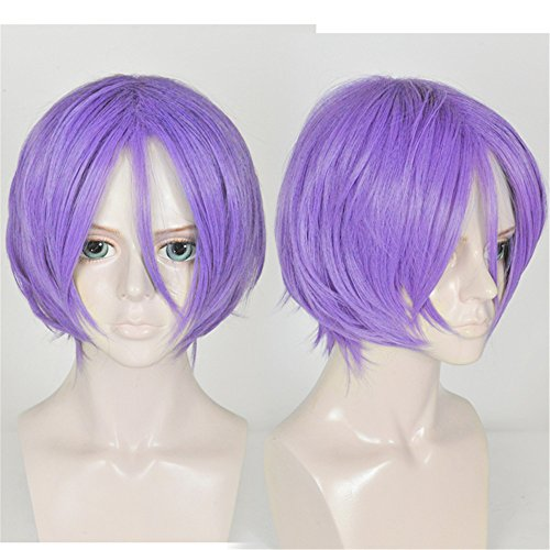 LanTing Cosplay Perücke Re:Life In A Different World From Zero Gaius Julius Caesar Purple Perücke Corta Styled Frauen Cosplay Party Fashion Anime Human Costume Full wigs Synthetic Haar Heat Resistant Fiber
