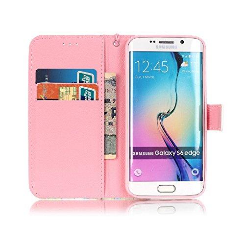 Galaxy S6 Edge Hülle, PU Leder Hülle für Ledertasche Schutzhülle Case[Stand Feature] Flip Case Cover Etui mit Karte Slots Hülle für Samsung Galaxy S6 Edge Kirsche