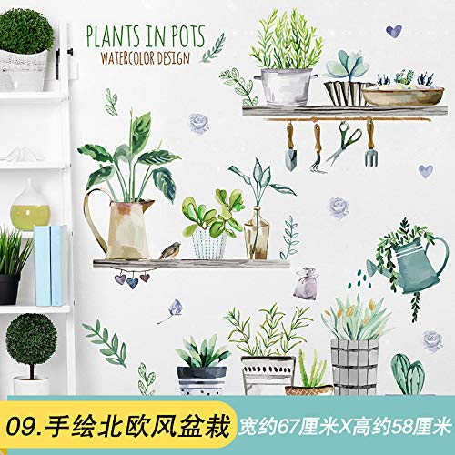 Flat Waterproof Wall Sticker Stickers Painted Bedroom Warm Ins Style Room Layout Wallpaper Self-Stick Creative Hand-Painted Nordic Potted Plants -