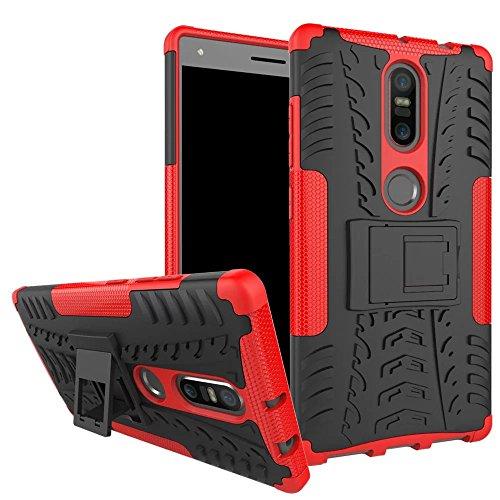 Für Lenovo Phab 2 Plus (Nicht kompatibel mit Lenovo Phab 2/Phab 2 Pro),Sunrive® Hülle Tasche Schutzhülle Etui Case Cover Hybride Silikon Stoßfest Handyhülle Hüllen Zwei-Schichte Armor Design Tasche mit schlagfesten mit Ständer Slim Fall(rot)+Gratis Universal Eingabestift
