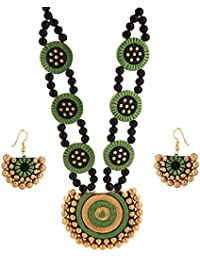 Tandra's Terracotta Green Golden Double Line Necklace Set For Women And Girls