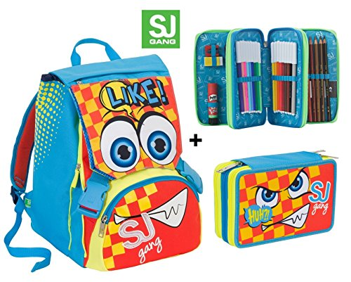 Zaino scuola sdoppiabile SJ GANG FACCINE - BOY - Azzurro Giallo Arancione - + Astuccio 3 zip - FLIP SYSTEM - 28 LT elementari e medie 3 pattine sfogliabili