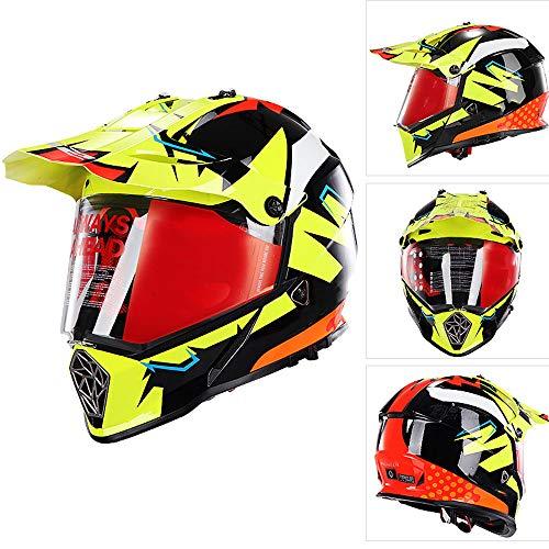 WHL Doppelscheiben-Motorradhelm, ABS-Gehäuse, stoßfest, abnehmbares Innenfutter, XL