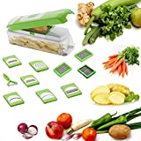 Floraware Multi Vegetable Dicer Grater Cutter Mandoline Chopper, 10-Piece, Green (Unbreakable)