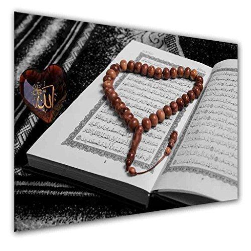 BILDER-MANUFAKTUR LEINWAND KUNSTDRUCK WANDBILD BILD BILDER, 8289 Farbe 3, 70 cm x 45 cm KORAN QUR´ AN HEILIGE SCHRIFT DES ISLAMS