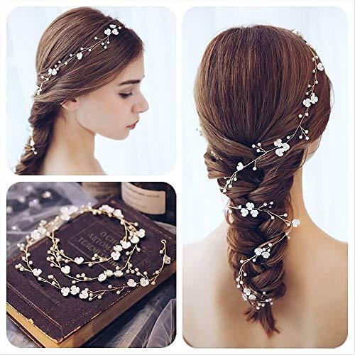 Gudotra 100cm fascia sposa per capelli con fiori perla accessori decorazione capelli nuziale per acconciatura matrimonio