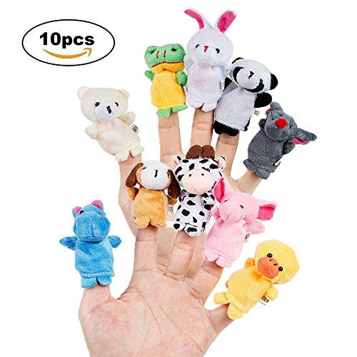 Toywale 10pcs Different Cartoon Animal Finger Puppets Soft Velvet Dolls Props Toys