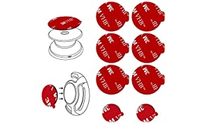 3M Sticky Adhesive Pad Replacement for Collapsible Grip Stand, VOLPORT 6pcs Double Sided Sticker Pads for Swappable Phone Expanding Base, Extra Super Strong VHB Circle Glue Tape for Mobile Car Holder