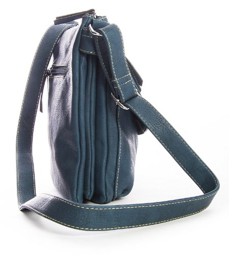 Big Handbag Shop Damen Cross-Body-Tasche aus Kunstleder Grau