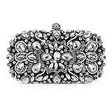 Abendtasche Damen Diamant Clutch Bag Kette Shiny Strass Handtasche für Hochzeit Party - Schwarz