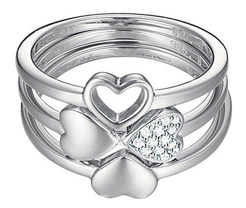 Esprit Essential Damen-Ring 925 Silber rhodiniert Zirkonia transparent (Die Silver Dragon Ringe)