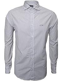 Armani Jeans Men's Fantasy Grey Striped Long Sleeve Shirt