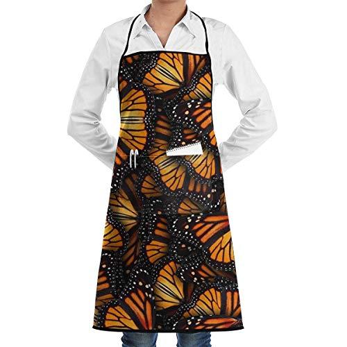 xcvgcxcvasda Einstellbare Latzschürze mit Tasche, Heaps of Orange Monarch Butterflies Cooking Kitchen Schürzes for Cooking Baking Kitchen Restaurant Crafting Cooking, Baking, Crafting, Gardening, BBQ (Handys Heap)