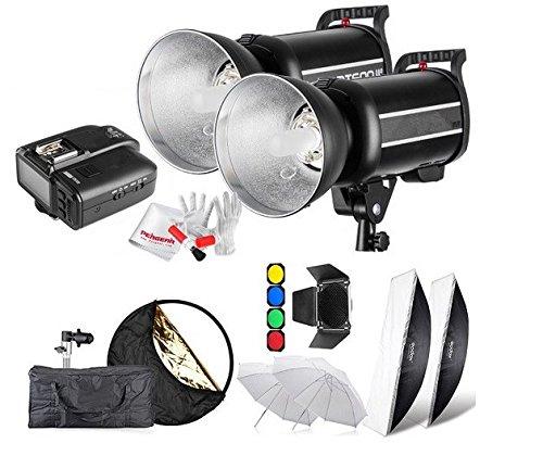 Preisvergleich Produktbild Gowe 600Ws GN761/8000s HSS Studio Flash Strobe Beleuchtung Kit & x1t Transmitter + Softbox Scheunentor + Wabenblende + Filter mit x1N für Nikon