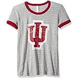 Blue 84 NCAA Indiana Hoosiers Women's Tri-Blend Retro Stripe Ringer Shirt, Small, Cardinal