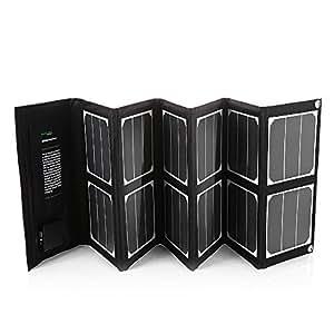 Poweradd Chargeur Paneau Solaire 40W Haut Efficient pour IPhone7/7plus, iPad, iPod, Android Smartphones Ordinateur Portable