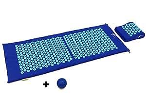 Kit d'acupression XL Fitem - Tapis d'Acupression + Coussin + Boule de Massage - Soulage douleurs Dos et Cou - Sciatique - Massage dos - Relaxation Musculaire - Acupuncture - Récupération post-sport (Bleu-Turquoise)