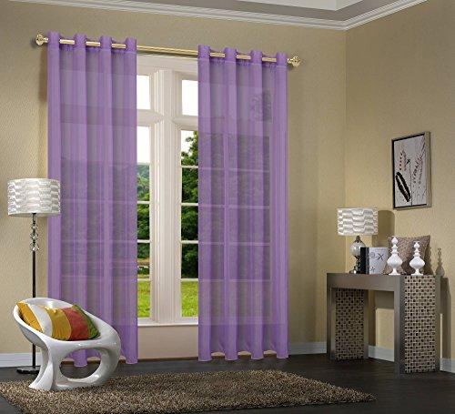 Primavera -20332CN- 2er-Pack Lila Vorhang Transparent Gardinen Set Wohnzimmer Voile Vorhang Ösenvorhang HxB 245x140 cm mit Bleibandabschluß Lila