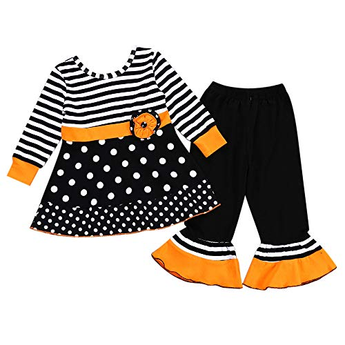 Blingko Kleid Halloween Karneval Kleinkind Baby Mädchen Striped Dot Tops Kleider Hosen Halloween Kostüm Outfits Set Kinder Langarm Halloween Polka Dot Striped Top Rock + Hose Zweiteiler Schwarz (White Cat Kostüm Kleinkind)