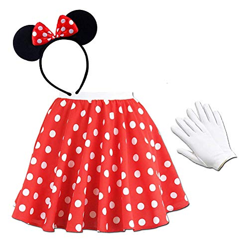 FancyDressFactory Minnie Mouse für Damen - Rock + Ohren + Handschuhe (Minnie Mouse 4-teiliges Set)