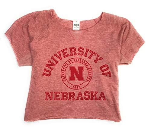 Victoria's Secret Damen Sweatshirt Nebraska Cornhusters, abgeschnittener Saum, Größe L (Pullover Von Victoria Secret)