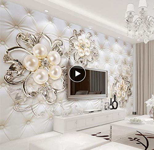 Txyang Beibehang Custom Wallpaper Home Decor Soft Pack Faux Leather Pearl Flower Tv Mural 3 D Living Room Bedroom Murals 3D Wallpapersize:150X120Cm(59.05In By 47.24In) - Home Decor Pack