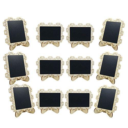 Mini Tableau Noir Tableau Chevalet Petit Tableau Avec Support Pour Mariages, Fêtes, Tables ou Cartes de Lieu, Set de 12