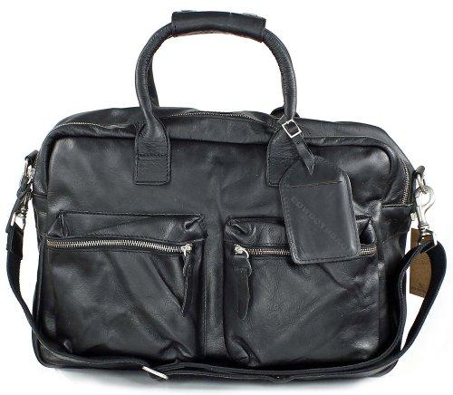 COWBOYSBAG The Bag - Sac à main en cuir vintage - unisexe (44x28x19 cm) Noir - Noir