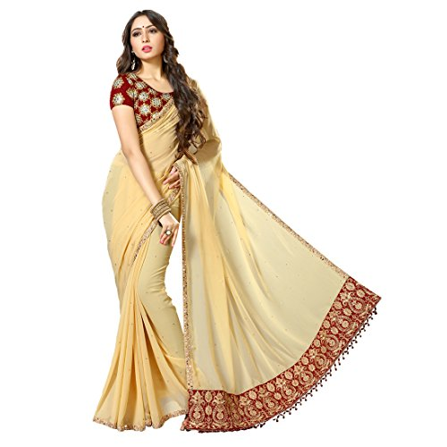Women'S Beige Color Georgette Embroidery, Hand Work Woven Saree